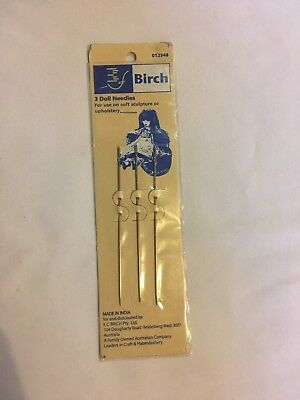 Birch 3 Dolls needles. For soft sculpture or upholstery. new unused