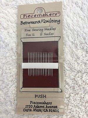 Piecemakers betweens/quilting needles size 12. 15 needles. new unused