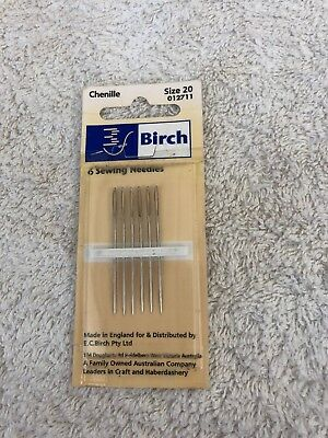 Birch Chenille embroidery needles, 6 needles. size 20. new unused
