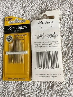 John James embroidery needles, 16 needles. assorted sizes. new unused