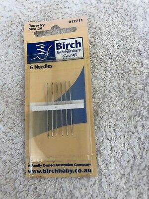 Birch tapestry embroidery needles, 6 needles. size 26. new unused