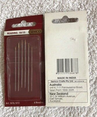 Semco beading needles, 6 needles. size 10/13. new unused