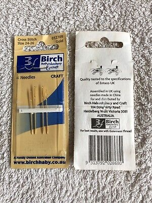Birch cross stitch embroidery needles, 4 needles. sizes 24-26. new unused