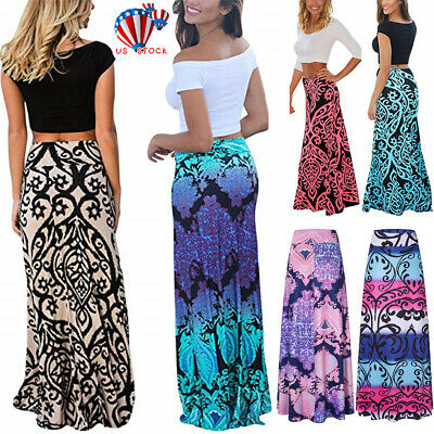 1f45128fe73 Boho Women Floral Print Maxi Skirt Elastic High Waist Beach Loose Long  Dress US