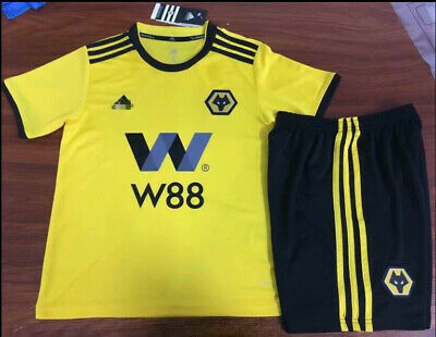 New 2018-19 Wolverhampton Wanderers Home Soccer Jersey Football Children's Suit