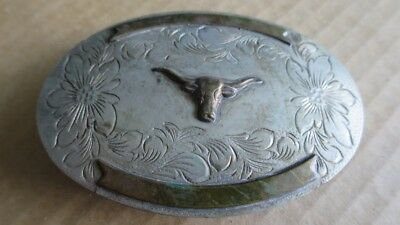 Western Silver Engraved Belt Buckle - Cowboy