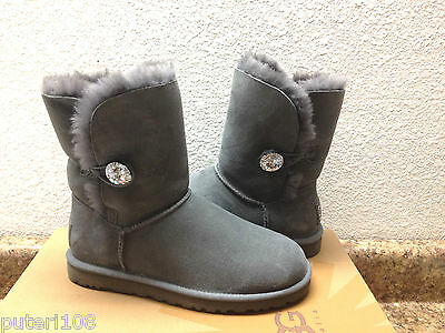 9b3b69f025b UGG MINI BAILEY BUTTON BLING SWAROVSKI CRYSTAL GREY GRAY US 5 New ...