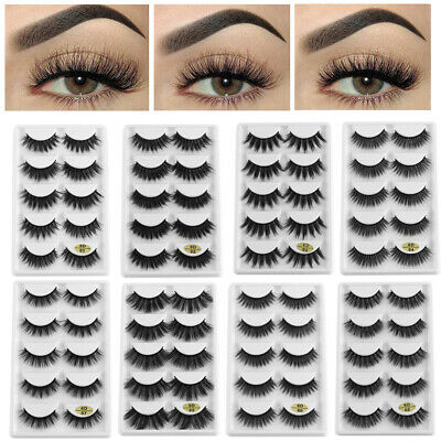 SKONHED 5 Pairs 6D Mink Hair False Eyelashes 25mm Lashes Thick Wispy Handmade US
