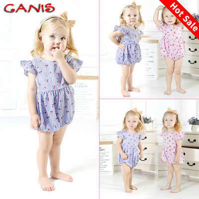 Cute Infant Baby Girl Fly Sleeve Striped Romper Bodysuit Jumpsuit Outfit Clothes