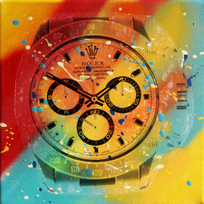 rolex daytona TABLEAU pop street art graffiti painting canvas signed PyB
