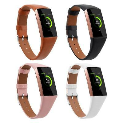 For Fitbit Charge 3 Band Luxury Genuine Leather Replacement Wristband Strap