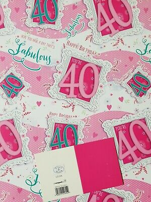 2 Sheets Of Thick Glossy 40Th Birthday Wrapping Paper Pink Gift Tag
