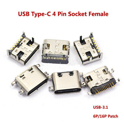 4 Pin USB Type-C Socket Female Port USB-3.1 6P/16P Patch Fast Charging Connector