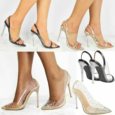 Womens Ladies High Heels Sandals Perspex Clear Pointed Toe Court Shoes Strappy