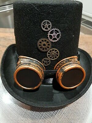 Steampunk Top Hat with Goggles & Bearings