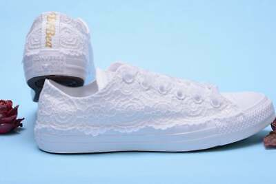 4b992bff98e62 LACE BRIDAL CONVERSE Sneakers for bride, White Wedding Converse, Lace  Trainers