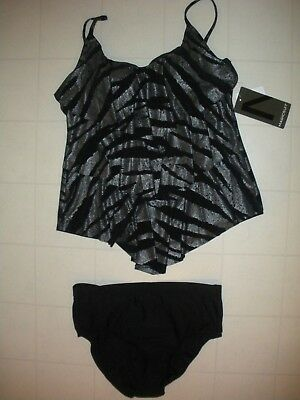 3426a27c163 Magicsuit by MIRACLESUIT Silver Shine On Rita 2-PC Tankini Swimsuit Sz 12  NWT