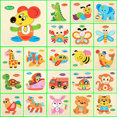 Animals Wooden Puzzle Blocks Toddler Baby Kids Child Educational Toy