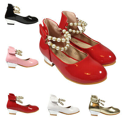 GIRLS KIDS CHILDREN RED BRIDESMAID DIAMANTE PARTY SHOES SIZE 7-11