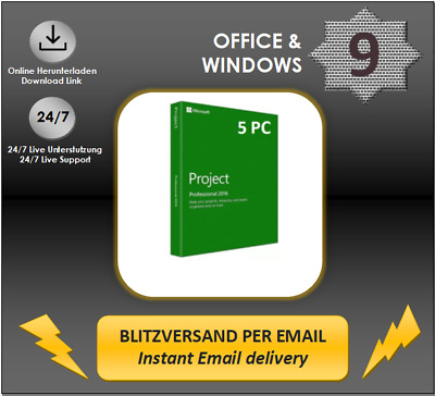 MS Project 2016 Professional, 1/2/3/4/5 PC, 32&64 Bits, Produktkey per E-Mail