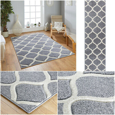 Modern Trellis Grey Funky Budget Small Large Runner Heatset Rugs By Portland