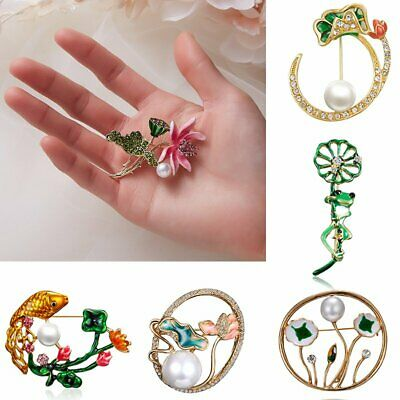 Lovely Crystal Lotus Flowers Brooch Pin Men Women Unisex Jewelry Banquet Gift