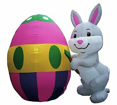 8/' Easter Bunny Lighted AIR Blown Inflatable With Large Egg Yard Decor
