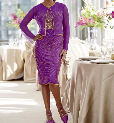 46c368019 Ashro Purple Gold Melinda Beaded Jacket Dress Dinner Party Cruise Formal 6  16 20