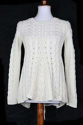 deb808d192 CABI WOMENS CABLE Knit Lace Up Sweater Cream Size Small Style 3157 ...