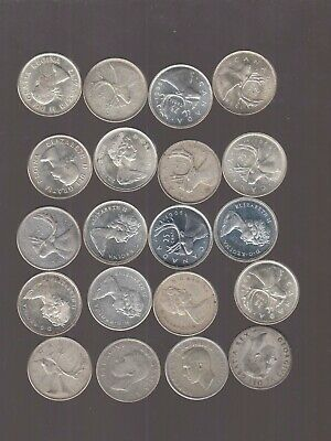 Lot Of 20  Canada Silver Quarters 25 Cents 80% Silver Mixed Dates