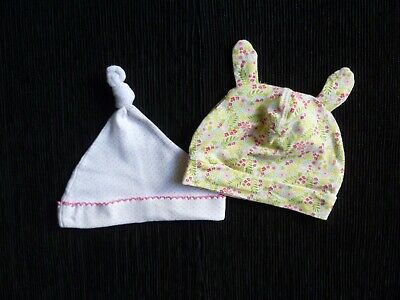 Baby clothes GIRL 3-6m x2 hats 2-4m & 3-6m yellow pink floral, white pink spot