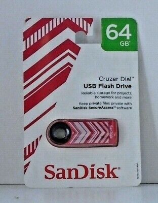 yellow GREEN or pink red NEW SanDisk Cruzer Dial USB Flash Drive 64 GB blue