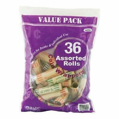 3 Pk, BAZIC Assorted Size Coin Wrappers, 36/Pack - Total of 108
