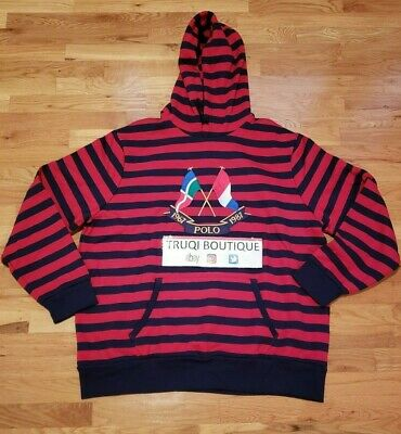 68b6c619f POLO RALPH LAUREN CP 93 CROSS FLAGS Red Stripe Hoodie Sweatshirt 1967 sz  Large