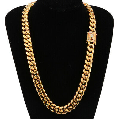 Mens Iced Out lab diamond 14k Gold PT 14mm Miami Cuban Choker Chain Necklace