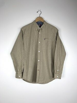 175f93233 Tommy Hilfiger Mens Beige Plaid Check Button Up Shirt Size XL Long Sleeve  Casual