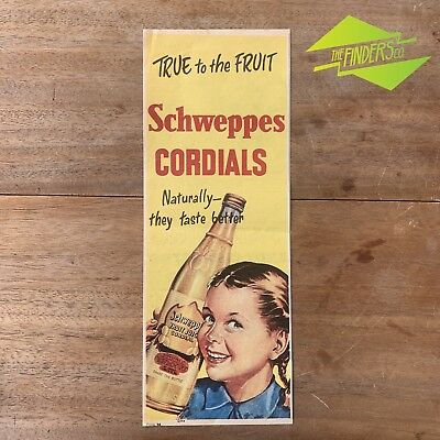 Vintage 1956 Schweppes Coridals 'True To The Fruit' Original Print Advertisement