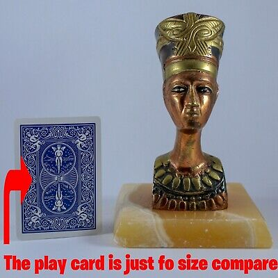 Nice Ancient Egyptian Queen Nefertiti - Bronze COPPER Statue on marble Base