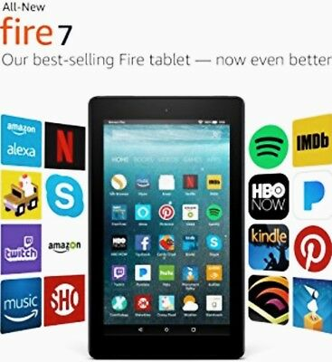 ALL-NEW BLACK Amazon Kindle Fire 7 Tablet E-Book Reader 16GB with ALEXA Wi-Fi DK