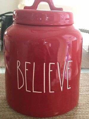 New Rae Dunn By Magenta LL BELIEVE Christmas Red Canister Jar 2018