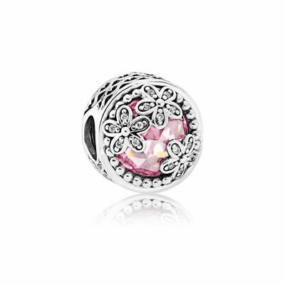 New Authentic Pandora Charms 925 ALE Sterling Silver Pink Clear CZ Charm Bead