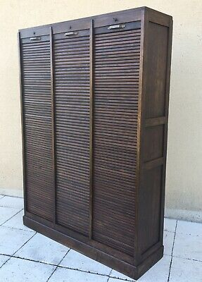 Antique French Triple Filing Cabinet Tambour Roller Shutter Delivery Available