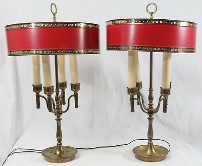 Candelabra Bouillotte Candlestick Metal Table Lamps Pair