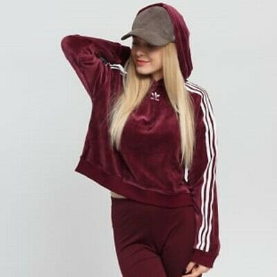 W 8 16 18 New790 Adidas 12 Size Uk 14 Hoodie 10 Cropped Velour Originals Maroon 3Sc5LARq4j