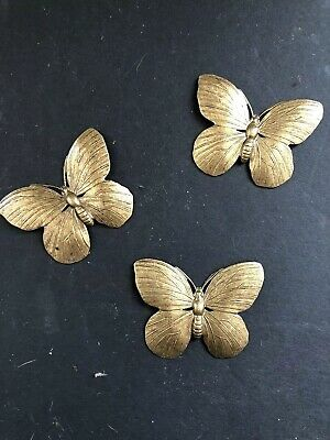 """1 Vintage 2"""" Solid Brass Butterflies Decorative Arts Crafts Pressed 35 Available"""