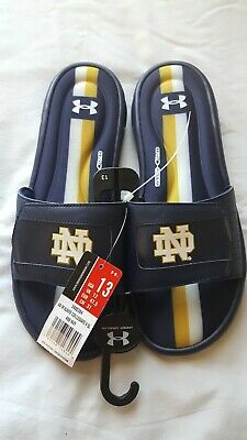 85985aa04e9f Men s Under Armour NCAA University of Notre Dame Ignite V Slide Flip Flops  Sz 13