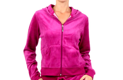 Hot Pink Fuchsia Velour Zip-Up Hoodie Jacket & Pants Tracksuit - Factory Seconds