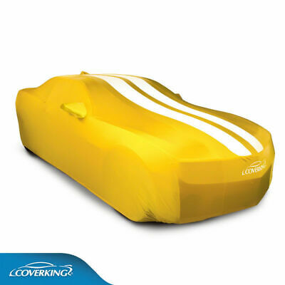 Yellow / White Stripes Coverking Satin Stretch Car Covers for Chevy Camaro 5