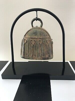 BRONZE TEMPLE BELL w STAND Made In Thailand Asian Art Buddha COW BELL