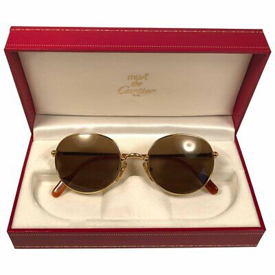 aec8977457a NEW VINTAGE CARTIER Antares 49Mm Gold Brown Lenses Sunglasses France ...